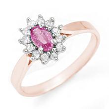 0.83 ctw Pink Sapphire & Diamond Ring 18K Rose Gold - REF#-38M9R-13864