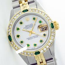 Rolex Ladies Stainless Steel, Diam Dial & Diam/Emerald Bezel, Saph Crystal - REF#387J3Y