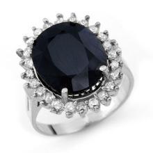 14.10 ctw Blue Sapphire & Diamond Ring 14K White Gold - REF#-121T6K-13112