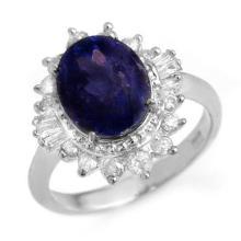 4.85 ctw Blue Sapphire & Diamond Ring 18K White Gold - REF#-94A7X-14301