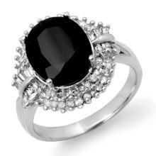 6.29 ctw Blue Sapphire & Diamond Ring 14K White Gold - REF#-127H3M-13779