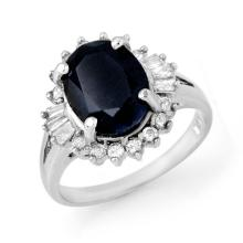 5.47 ctw Blue Sapphire & Diamond Ring 18K White Gold - REF#-90V9Y-13297