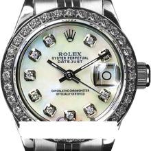 Rolex Ladies Stainless Steel, Diamond Dial & Diamond Bezel, Saph Crystal - REF#349A3M