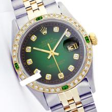 Rolex Ladies 2Tone 14K Gold/ Stainless Steel, Diam Dial & Diam/Emerald Bezel, Saph Crystal - REF#316Y4N
