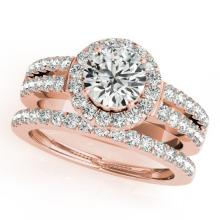 1.58 CTW Certified VS/SI Diamond 2Pc Wedding Set Solitaire Halo 14K Gold - REF-244K4R - 31134