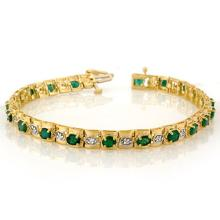 4.09 CTW Emerald & Diamond Bracelet 10K Yellow Gold - REF-80N9A - 10209