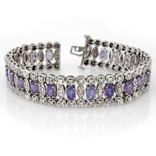 17.50 CTW Tanzanite & Diamond Bracelet 18K White Gold - REF-578W2H - 14626