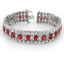 18.50 CTW Red Sapphire & Diamond Bracelet 18K White Gold - REF-559M5F - 14624