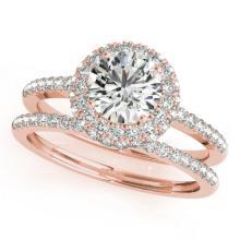 1.25 CTW Certified VS/SI Diamond 2Pc Wedding Set Solitaire Halo 14K Gold - REF-204W2H - 30925