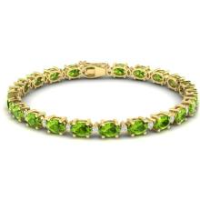 19.7 CTW Peridot & VS/SI Certified Diamond Eternity Bracelet Gold - REF-118R5K - 29374