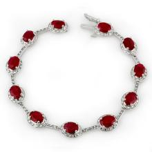 12.40 CTW Ruby & Diamond Bracelet 14K White Gold - REF-140H9W - 10853