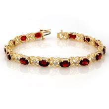 13.55 CTW Garnet & Diamond Bracelet 10K Yellow Gold - REF-52X9Y - 10122