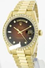 Rolex Men's 18K Yellow President, QuickSet, Diamond Dial & Diamond Bezel - REF#1232W7R