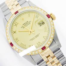 Rolex Men's 2Tone 14K Gold/ SS, QuickSet, Roman Dial & Diam/Ruby Bezel - REF#436J4Y