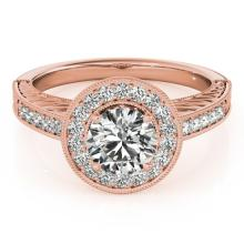 1.5 CTW Certified VS/SI Diamond Bridal Solitaire Halo Ring 18K Rose Gold Gold - REF#-485M6R-26525