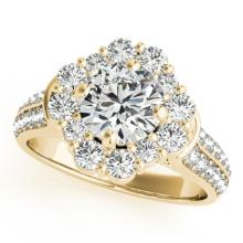 2.81 CTW Certified VS/SI Diamond Bridal Solitaire Halo Ring 18K Yellow Gold - REF#-657H2M-26714