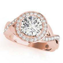1.75 CTW Certified VS/SI Diamond Bridal Solitaire Halo Ring 18K Rose Gold Gold - REF#-415R6H-26174