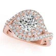 1.75 CTW Certified VS/SI Diamond Bridal Solitaire Halo Ring 18K Rose Gold Gold - REF#-421A8X-26638