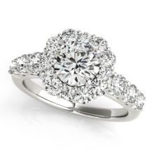 2.9 CTW Certified VS/SI Diamond Bridal Solitaire Halo Ring 18K White Gold Gold - REF#-634G8N-26269