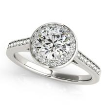 1.93 CTW Certified VS/SI Diamond Bridal Solitaire Halo Ring 18K White Gold - REF#-600V9Y-26362