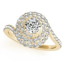 1.33 CTW Certified VS/SI Diamond Bridal Solitaire Halo Ring 18K Yellow Gold - REF#-156K5W-27047