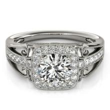 1.3 CTW Certified VS/SI Diamond Bridal Solitaire Halo Ring 18K White Gold Gold - REF#-388R7H-26551