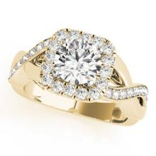 1.65 CTW Certified VS/SI Diamond Bridal Solitaire Halo Ring 18K Yellow Gold - REF#-408Y9M-26193