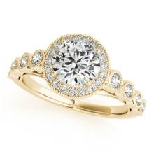 1.5 CTW Certified VS/SI Diamond Bridal Solitaire Halo Ring 18K Yellow Gold - REF#-399M5F-26403