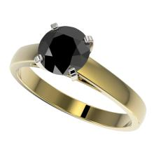1.50 CTW Fancy Black VS Diamond Bridal Solitaire Engagment Ring Gold - REF#-44M2F-33024