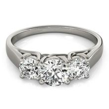 0.5 CTW Certified VS/SI Diamond 3 stone Bridal Wedding  Ring 18K White Gold - REF#-74A5X-28047