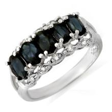 2.0 CTW Blue Sapphire & Diamond Ring 18K White Gold - REF-46R4K - 12423
