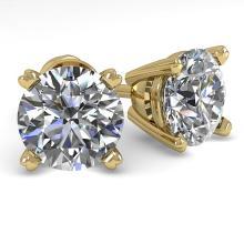 2.0 CTW VS/SI Diamond Stud Designer Earring 18K Gold - REF-538M3F - 32302