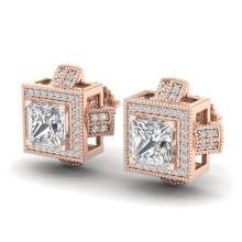 2.75 CTW Princess VS/SI Diamond Micro Pave Stud Earring 18K Gold - REF-684H3W - 37188