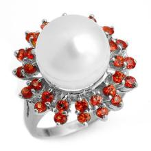 1.50 CTW Red Sapphire & Pearl Ring 18K White Gold - REF-95H3W - 10446