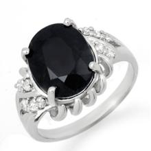 4.83 CTW Blue Sapphire & Diamond Ring 10K White Gold - REF-47F3M - 13570