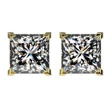 2.50 CTW Certified VS/SI Quality Princess Diamond Stud Earring Gold - REF-663M2F - 33116