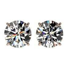 3 CTW Certified H-SI/I Quality Diamond Solitaire Stud Earring Gold - REF-623H3W - 33121