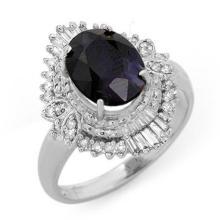 3.01 CTW Blue Sapphire & Diamond Ring 18K White Gold - REF-74M4F - 13115