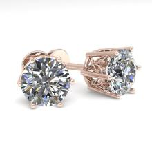 2.0 CTW Certified VS/SI Diamond Stud Solitaire Earring 18K Rose Gold - REF-490A4N - 35843