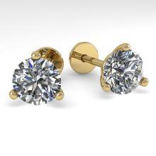 2.0 CTW Certified VS/SI Diamond Stud Earring 18K Martini Gold - REF-533R7K - 32215