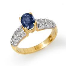 1.50 CTW Blue Sapphire & Diamond Ring 10K Yellow Gold - REF-45W6H - 13213