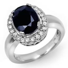 4.65 CTW Blue Sapphire & Diamond Ring 10K White Gold - REF-52M9F - 11901