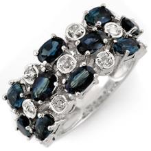4.20 CTW Blue Sapphire & Diamond Ring 10K White Gold - REF-48A4N - 11313