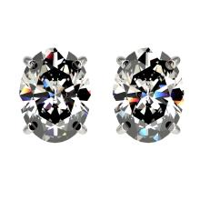 2.50 CTW Certified VS/SI Quality Oval Diamond Stud Earring Gold - REF-663M2F - 33111