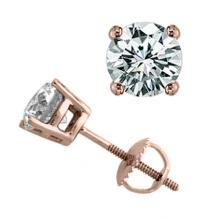 2.50 CTW Certified VS/SI Diamond Solitaire Stud Earrings 18K Rose Gold - REF-770A3N - 14133