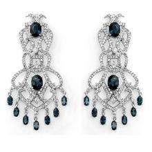 17.60 CTW Blue Sapphire & Diamond Earrings 14K White Gold - REF-568A9N - 11847
