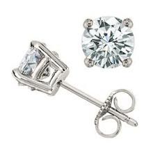 1.0 CTW Certified VS/SI Diamond Solitaire Stud Earrings 18K Rose Gold - REF-141M8F - 13534