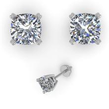 1.06 CTW Cushion Cut VS/SI Diamond Stud Designer Earring 14K Gold - REF-174X5Y - 32150