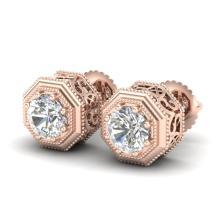 1.07 CTW VS/SI Diamond Solitaire Art Deco Stud Earring 18K Gold - REF-190X9Y - 37095