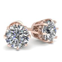 1.0 CTW VS/SI Diamond Stud Solitaire Earring 18K Rose Vintage Gold - REF-156N4A - 35663